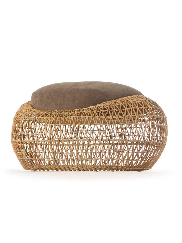 Balou ottoman by Kenneth Cobonpue Materials: Abacca, rattan, Nylon. Steel. Dimensions: 60 x 89 x H 42cm  Named after the bear from The Jungle Book, Balou exudes comfort at first glance with its light and breezy look. The collection's soft edges