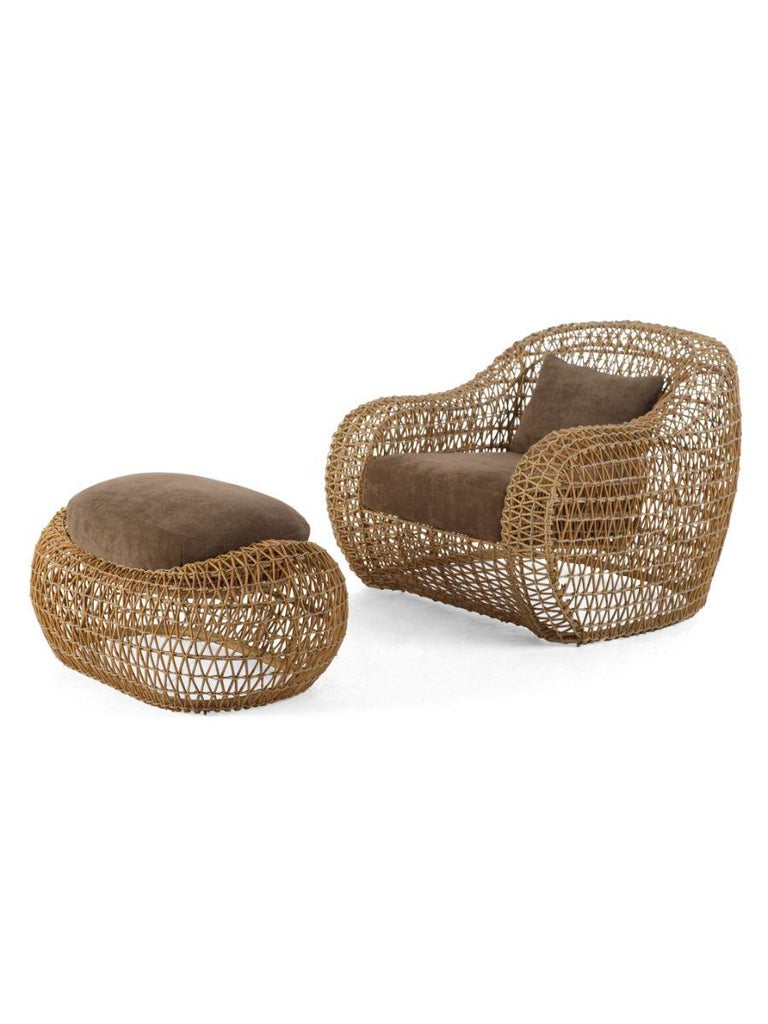 Polished Indoor Balou Ottoman by Kenneth Cobonpue For Sale