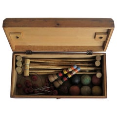 Indoor Croquet Set Game for 7 Players in Jointed Wood Box, Early 20th Century