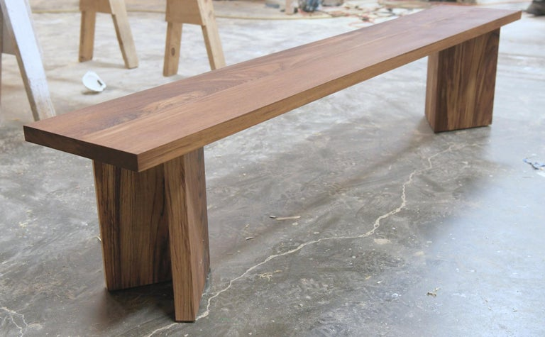 Modern Indoor or Outdoor Bench Made from Teak by Petersen Antiques For Sale