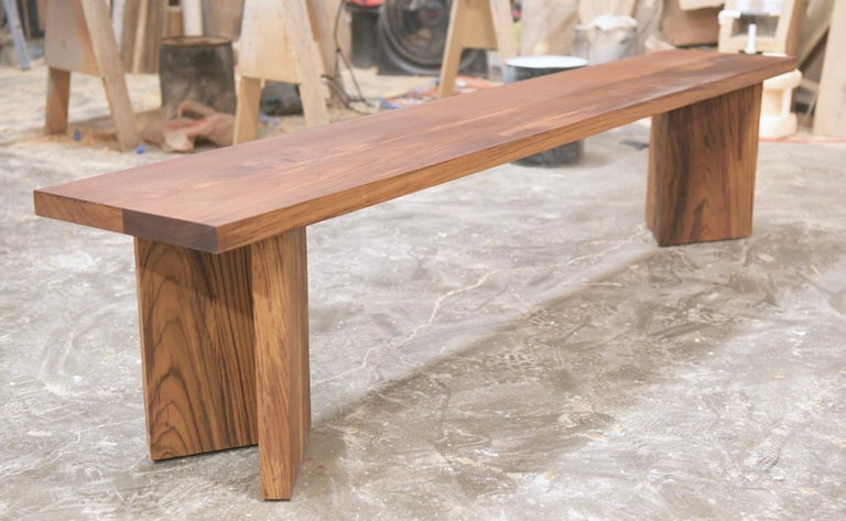 Contemporary Indoor or Outdoor Bench Made from Teak by Petersen Antiques For Sale
