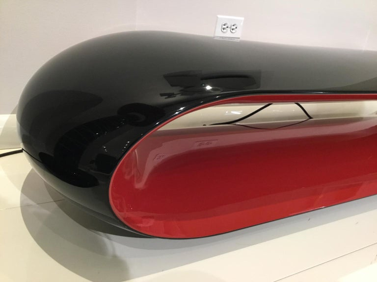 Indoor / Outdoor Black and Red Glossy Lacquered Bench by Christophe Pillet In Good Condition For Sale In Chicago, IL