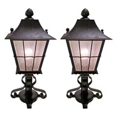 Indoor Outdoor Iron and Glass Lanterns 1930, a Pair