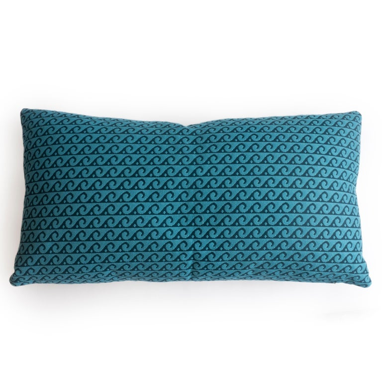 Modern Indoor/Outdoor Lumbar Pillow with Blue Wave Pattern For Sale