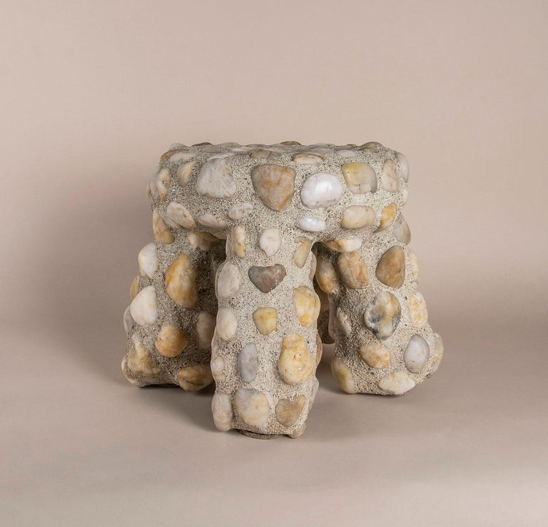 American Indoor-Outdoor Modern River Rock Masonry Tuffet Stool by Lland For Sale