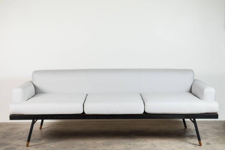 The Montrose sofa has a steel frame, solid teak slatted insert, and three loose seat cushions. Can be used indoors or outdoors, please specify when ordering.  The Lawson-Fenning Collection is designed and handmade in Los Angeles, California.  Can be