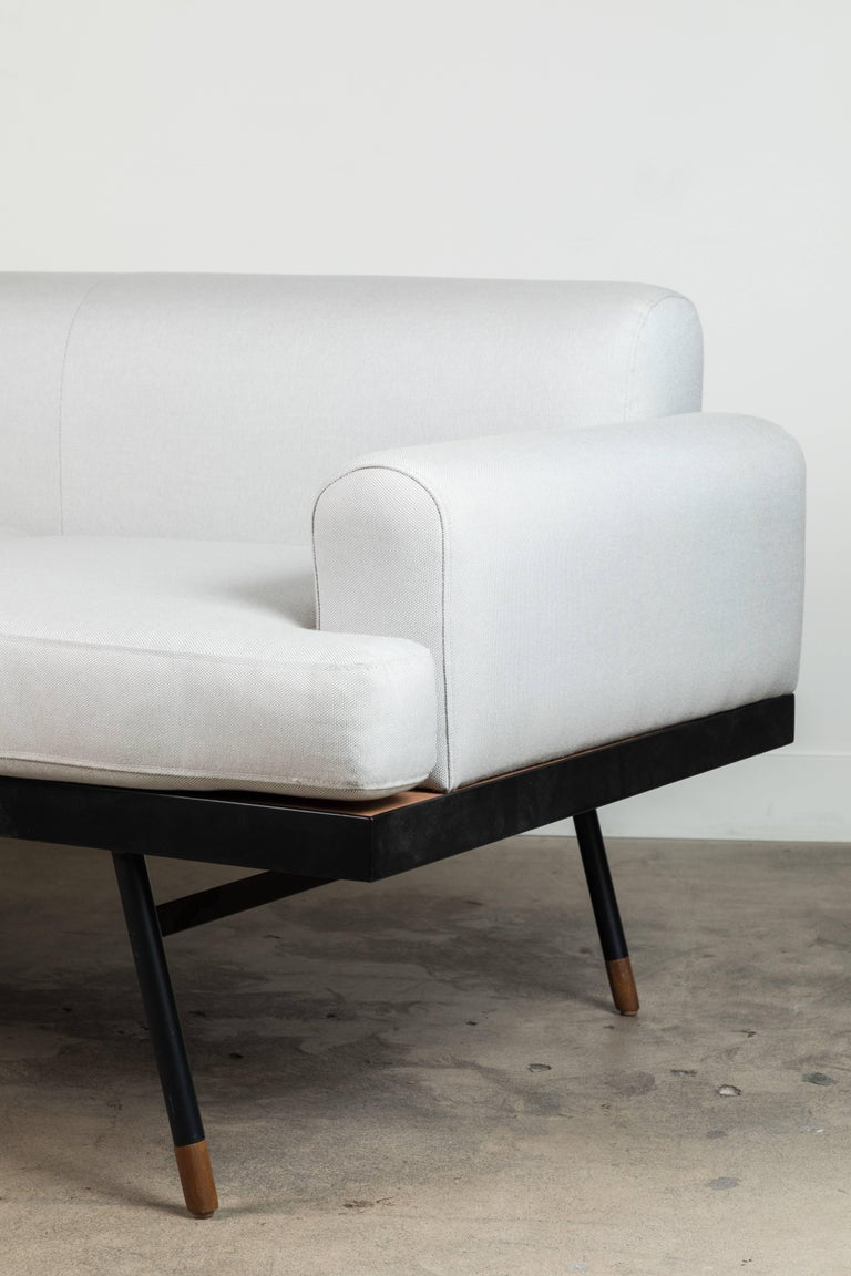 Contemporary Indoor / Outdoor Montrose Sofa with Teak Details by Lawson-Fenning For Sale