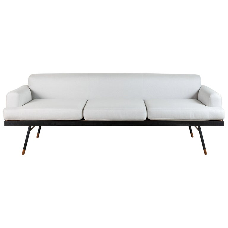 Indoor / Outdoor Montrose Sofa with Teak Details by Lawson-Fenning For Sale