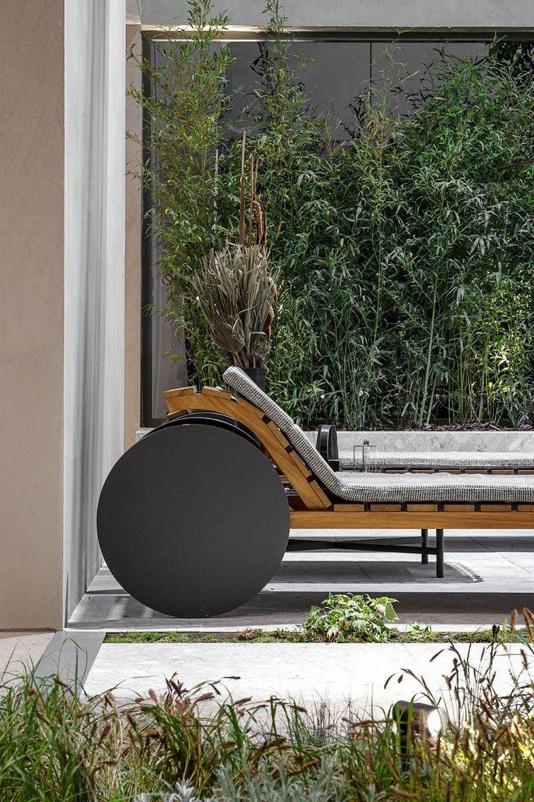 Modern Indoor / Outdoor Potocco Suno Recliner Iroko Sun Lounger For Sale