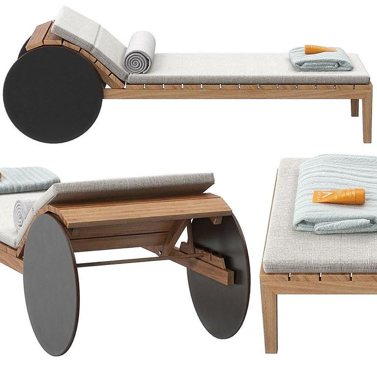 Wood Indoor / Outdoor Potocco Suno Recliner Iroko Sun Lounger For Sale