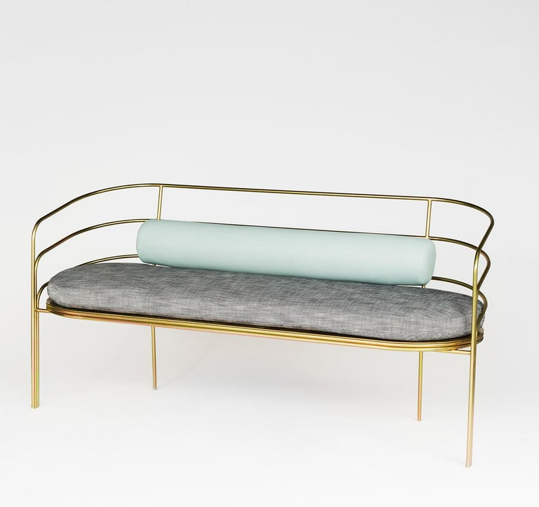 Inspired by the streamline moderne architecture found on the East Side of Los Angeles, the DeMille sofa harkens back to LA's Hollywood Regency era. This piece is suitable for indoor or outdoor use. The frame is powder-coated, zinc, brass or copper