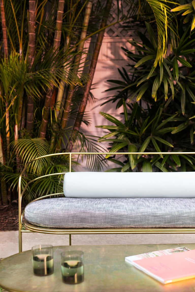 Contemporary Indoor/Outdoor Steel-Framed Sofa in Modern Regency Style by Laun Los Angeles For Sale