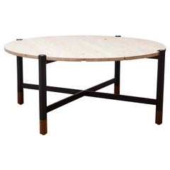 Indoor/Outdoor Travertine Round Bronson Coffee Table