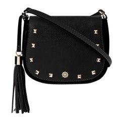 Indra Crossbody - Black Pebble Leather Handbag