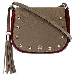 Indra Crossbody - Mushroom & Ruby Red Pebble Leather Handbag