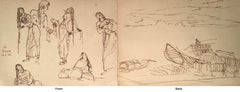 "Bath, Woman bathing and houses, ink on paper, by Modern Indian Artist ""In Stock"""