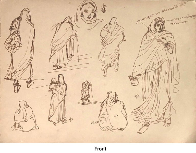 Indian Mother-Child, Women going to worship,Drawing by Indian Artist