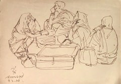 "Indian Rural Scene, Travelers, Luggage, Ink on Paper by Modern Artist ""In Stock"""