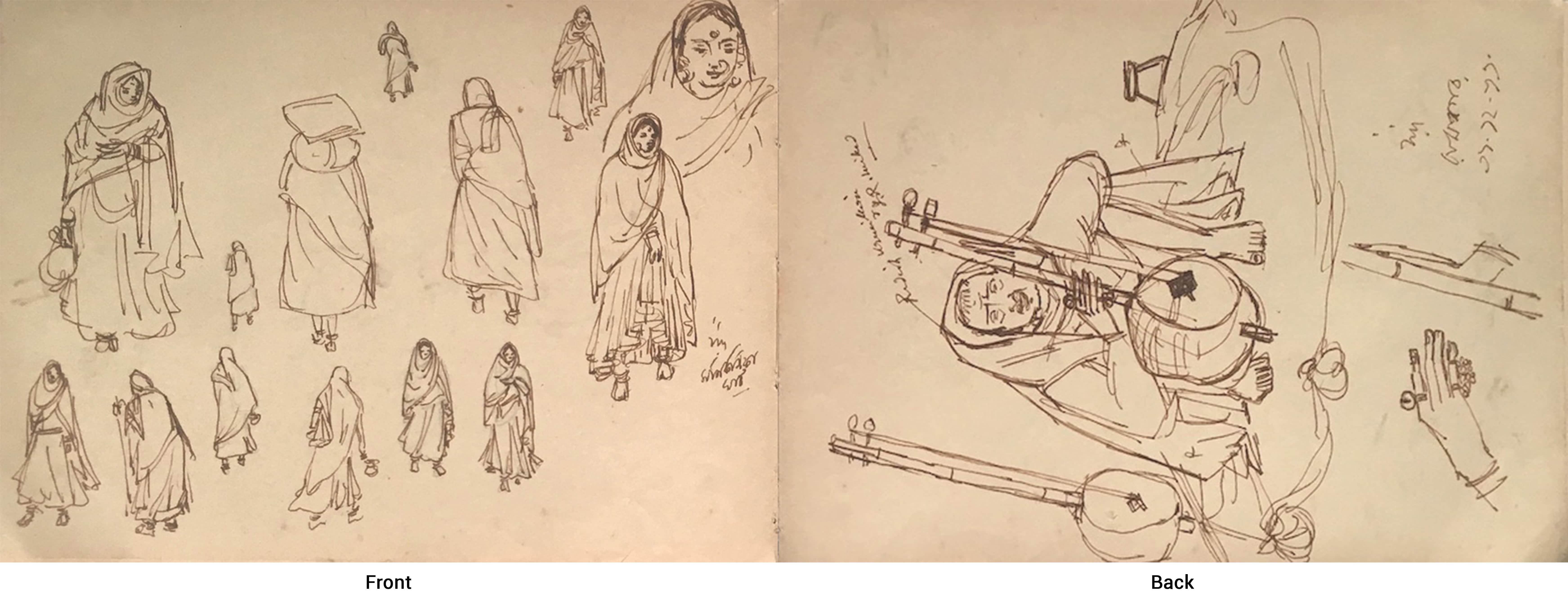 "Indian Women in their Habitat, Musician on Sitar, Ink, Master Artist ""In Stock"""