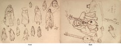 "Indian Women in their Habitat, Musician on Sitar, Ink, Master Artist ""In Stock"""
