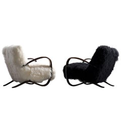 indrich Halabala Lounge Chairs in Black and White Tibetan Wool Upholstery
