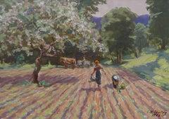Harvesting. 1956. Cardboard, oil, 23x33 cm
