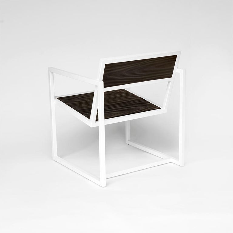 American Indus Topography Chair by CAUV Design Welded Steel Frame and Carved Hardwood For Sale