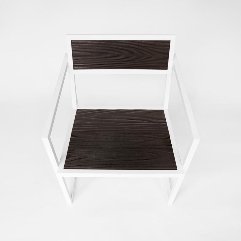 Hand-Carved Indus Topography Chair by CAUV Design Welded Steel Frame and Carved Hardwood For Sale