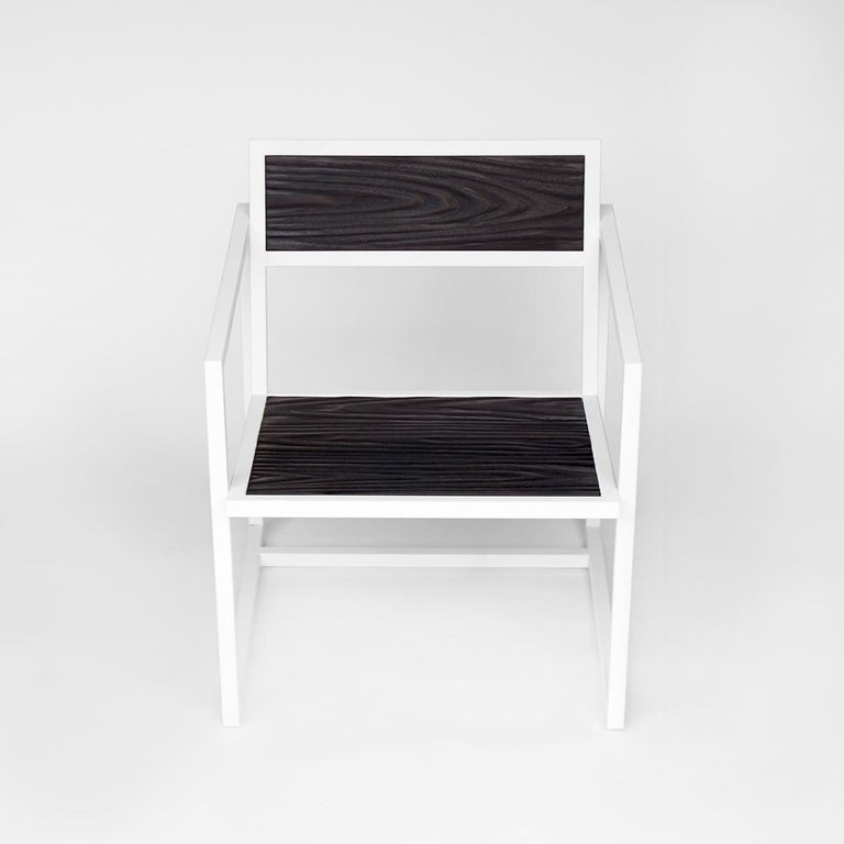 Indus Topography Chair by CAUV Design Welded Steel Frame and Carved Hardwood In New Condition For Sale In Brooklyn, NY