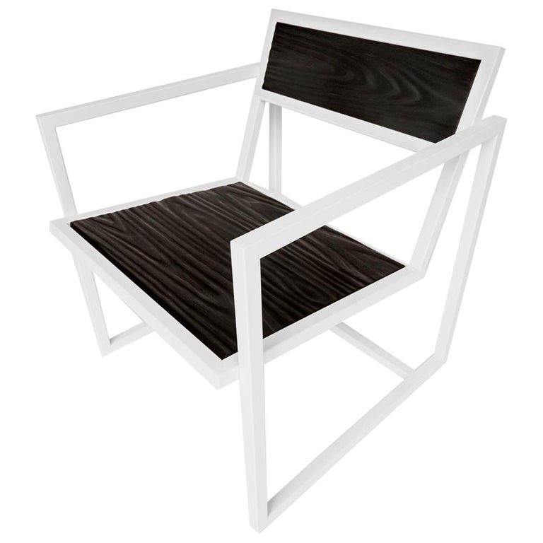 Indus Topography Chair by CAUV Design Welded Steel Frame and Carved Hardwood For Sale