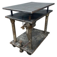 Industrial 3-Tiered Chain Drive Adjustable Steel Table / Bar Cart/ Factory Lift