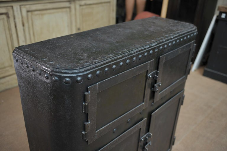 European Industrial 4 Doors Cabinet in Riveted Iron, circa 1900 For Sale