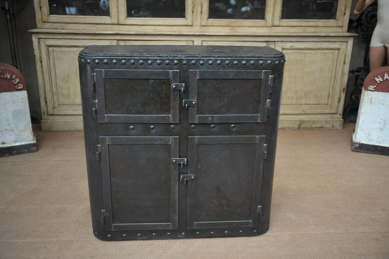 Early 20th Century Industrial 4 Doors Cabinet in Riveted Iron, circa 1900 For Sale