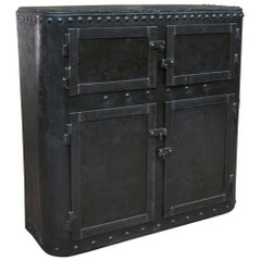 Industrial 4 Doors Cabinet in Riveted Iron, circa 1900