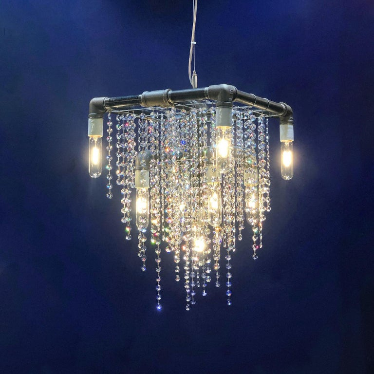Hand-Crafted Industrial 9-Light Black Steel and Crystal Compact Pendant Chandelier For Sale