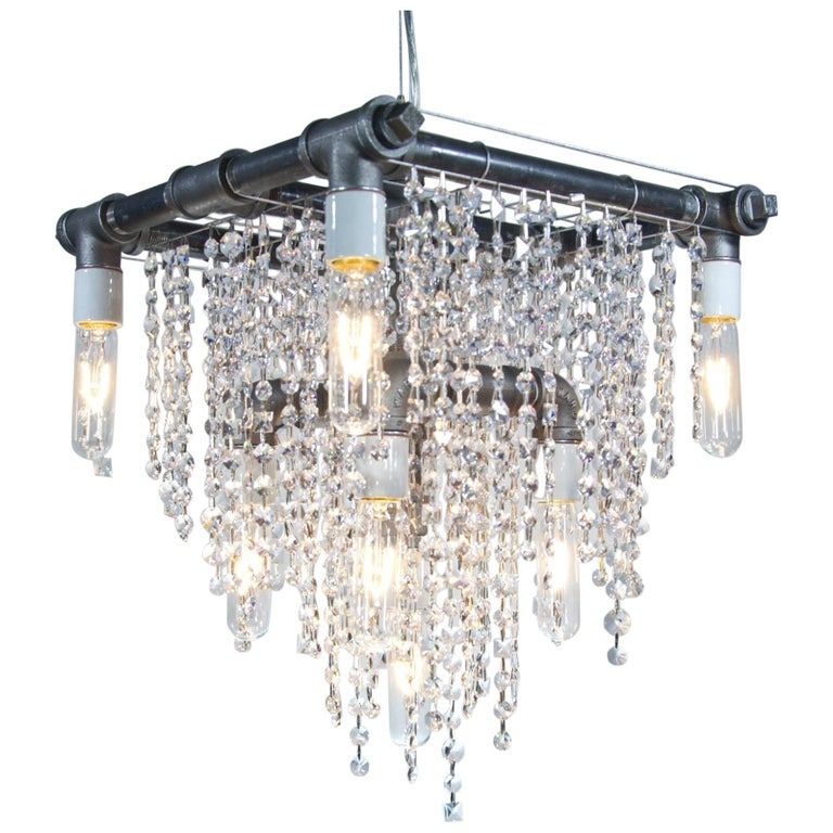 Industrial 9-Light Black Steel and Crystal Compact Pendant Chandelier For Sale