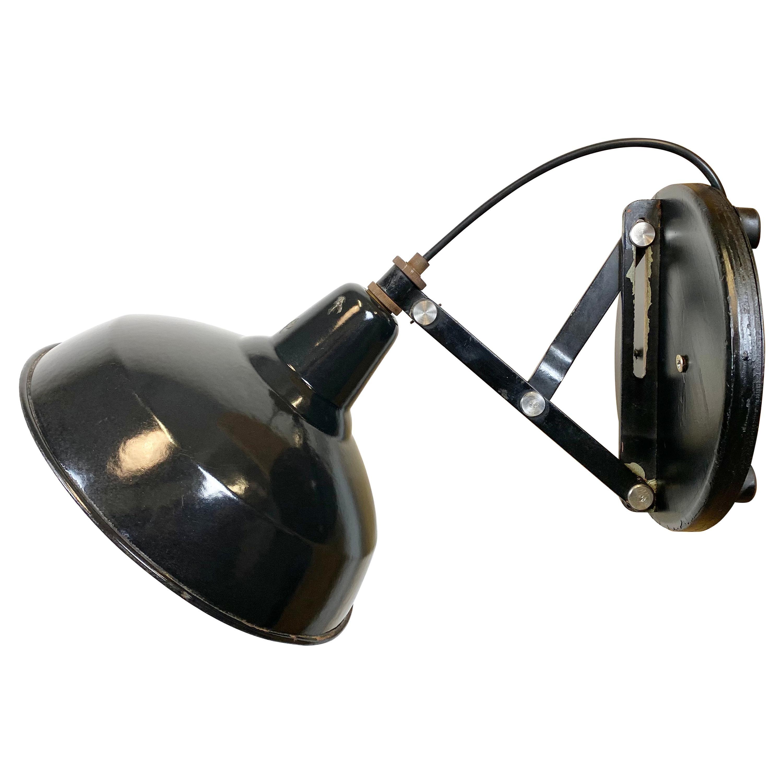 Industrial Adjustable Black Enamel Wall Lamp, 1950s