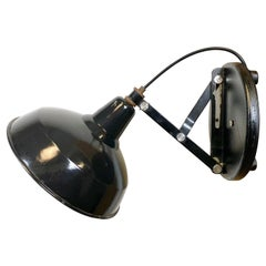 Industrial Adjustable Black Enamel Wall Lamp, 1950s