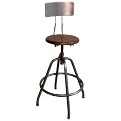 Industrial Adjustable Brushed Steel Drafting Stool