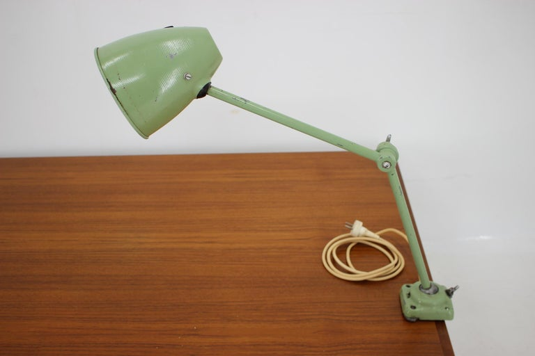 Industrial Adjustable Metal Table Lamp with Patina, 1950s For Sale 2