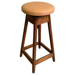 Industrial Adjustable Oak Shop Stool With Leather Seat