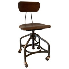 Industrial Adjustable Rolling Toledo Drafting Chair