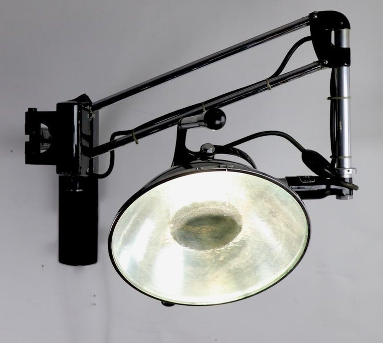 Industrial Adjustable Wall Mount Dental Light by the Wilmont Castle Co. For Sale 4