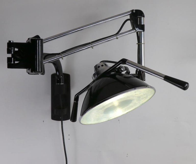 Industrial Adjustable Wall Mount Dental Light by the Wilmont Castle Co. For Sale 6