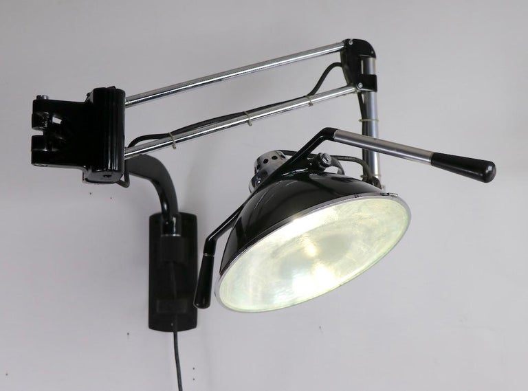 Industrial Adjustable Wall Mount Dental Light by the Wilmont Castle Co. For Sale 7