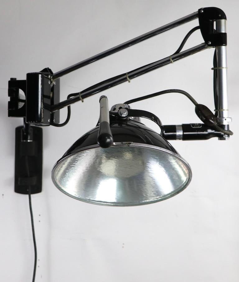Industrial Adjustable Wall Mount Dental Light by the Wilmont Castle Co. For Sale 2