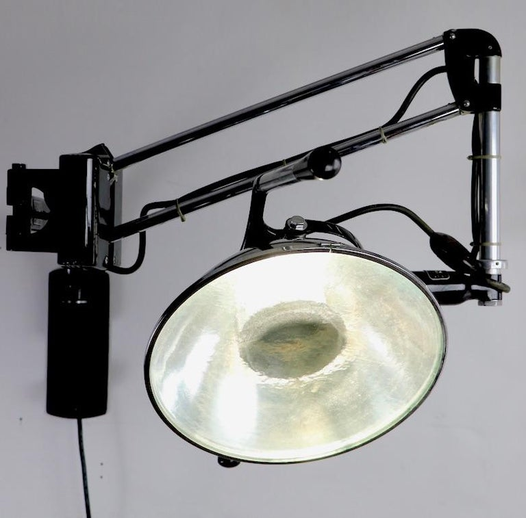 Industrial Adjustable Wall Mount Dental Light by the Wilmont Castle Co. For Sale 3