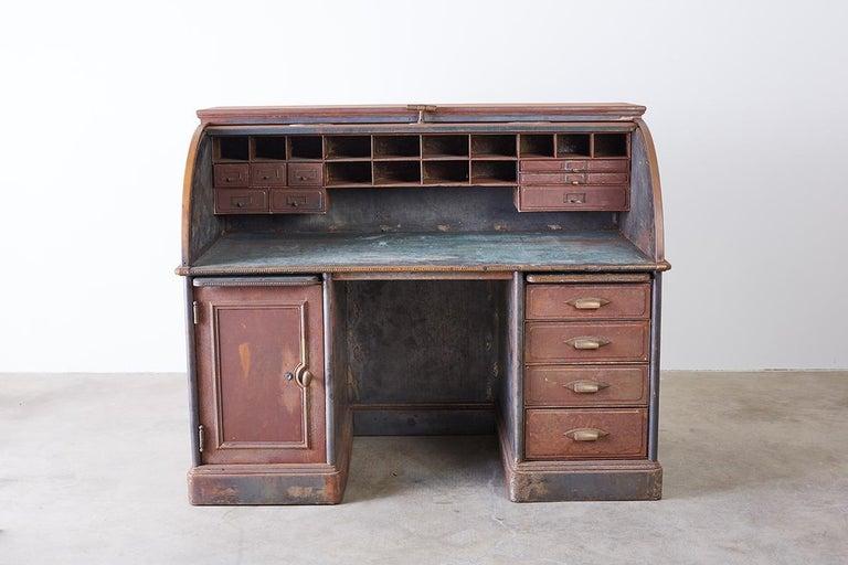 Industrial Age Steel Roll Top Desk By Art Metal For Sale
