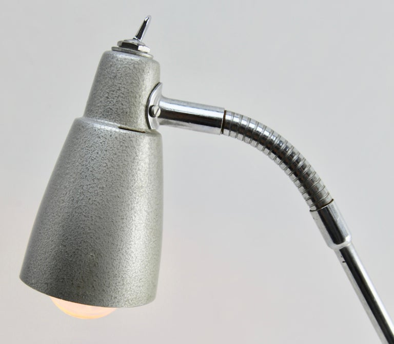 Machine-Made Industrial Anglepoise Lamp 'Silver-Grey' with Adjustable and Flexible Sections For Sale