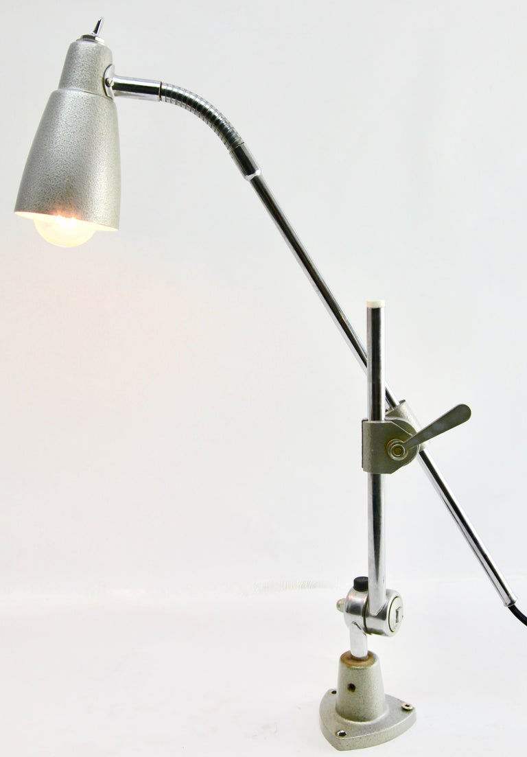 Industrial Anglepoise Lamp 'Silver-Grey' with Adjustable and Flexible Sections For Sale 2